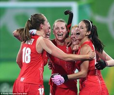Great Britain's players celebrate after reaching their first ever Olympic final