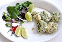Asian Fish Cakes: the healthier burger. Adapted from Diana Henry's Moroccan Fish Cake recipe in Plenty. Made from salmon.