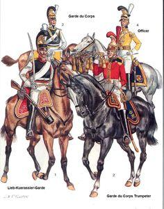 Corazziere, tromba, guardia del corpo e ufficiale delle guardie del corpo sassoni