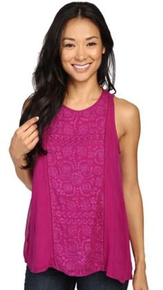 Lucky Brand Pop Embroidered Semi Sheer Tank Top Fuchsia Large