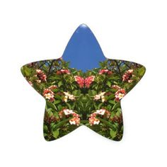 Flower Frangipani Print Star Sticker - flower print gifts floral idea giftideas