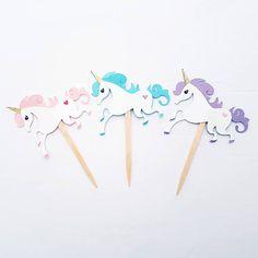 Partido de unicornio unicornio Cupcake Toppers selecciones de