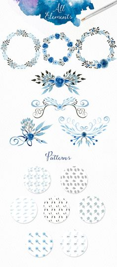 Light Blue Watercolour Elements - Illustrations - 3