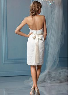 Gorgeous All-over Lace Sheath Sweetheart Neckline Natural Waistline Wedding Dress