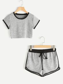croptop deportivo Shop Ringer Crop Tee With Contrast Dolphin Hem Shorts online. SheIn offers Ringer Crop Tee With Contrast Dolphin Hem Shorts amp; more to fit your fashionable needs. Sport Outfits, Girl Outfits, Fashion Outfits, Ootd Fashion, Fashion Styles, Fashion Trends, Teen Fashion, Korean Fashion, Womens Fashion