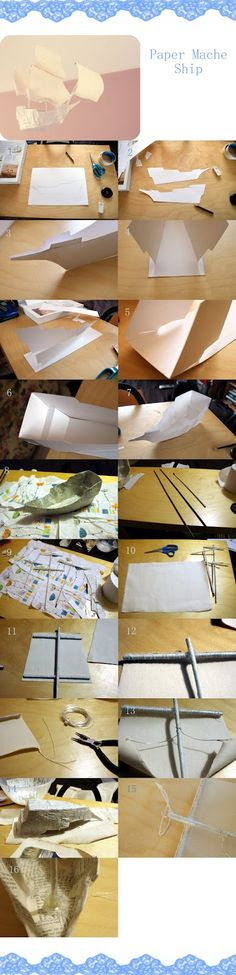 Project 52: Sailing Ship Paper Mache Projects, Paper Mache Crafts, Book Crafts, Decor Crafts, Diy Crafts, Diy Projects To Try, Projects For Kids, Ann Wood, Cardboard Box Crafts