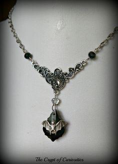 Black crystal Gothic bat necklace.