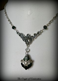 Black crystal Gothic bat necklace.