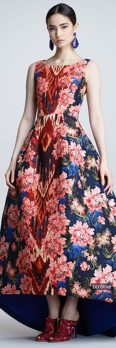 Oscar de la Renta Floral Ikat Jacquard Gown, Navy/Red - Neiman's v