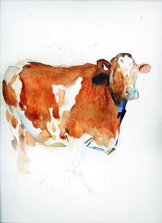 Benjamin Björklund Watercolor Artwork, Watercolor Animals, Watercolor Portraits, Animal Paintings, Animal Drawings, Benjamin Björklund, Cow Sketch, Cow Painting, Artist Sketchbook
