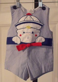 One Piece Romper Vintage Baby Boys Sunsuit by MySewingParlor, $9.95
