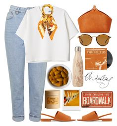 """"""""""" by burcaak ❤ liked on Polyvore featuring Barneys New York, Topshop, Vince, Ray-Ban, S'well, H&M, Holga, Hermès and cool"""