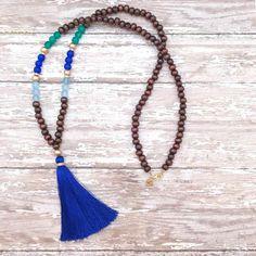cobalt blue + tassel necklace + sea glass esque
