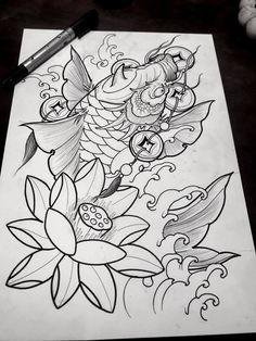 Asian Tattoos, Old Tattoos, Weird Tattoos, Black Tattoos, Body Art Tattoos, Small Japanese Tattoo, Japanese Koi Fish Tattoo, Japanese Tattoo Designs, Koi Tattoo Design