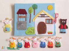 A farkas és a hét kecskegida- készségfejlesztő-kreatív ujjbáb készlet mini bábszínházzal (Azonnal vihető!), Baba-mama-gyerek, Játék, Báb, Készségfejlesztő játék, Meska