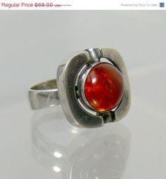 Vintage Mid Century Modernist Sterling Silver & Amber Ring Einer Fehrn Denmark.