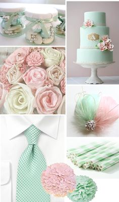 kinda like the mint and pink wedding colour scheme but since my wedding if i remember correctly is green and blue im thinking because the dress for the flower girl is going to be a mint green the mint green tie would be wonderful on the ring bearer Pink Wedding Colors, Wedding Mint Green, Pastel Wedding Theme, Wedding Themes, Our Wedding, Wedding Decorations, Wedding Cakes, Stage Decorations, Wedding Stage