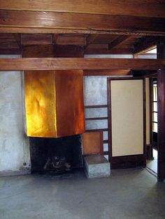 The copper fireplace hood at Rudolph Schindler's King's Rd. House, 1922. Photo by Stu_Jo, via Flickr