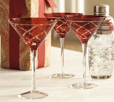 Love these red cut-glass stemware for a Christmas party (from Pottery Barn)