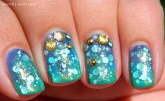 Underwater Mani with gel and Femme Fatale Mermaiden's Adoration http://serenity-nails.com/2014/09/22/how-to-underwater-theme-nails-with-gel-and-indie-polish/