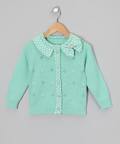 Another great find on #zulily! Aqua Polka Dot Bow Cardigan - Infant & Toddler by Sweet Charlotte #zulilyfinds