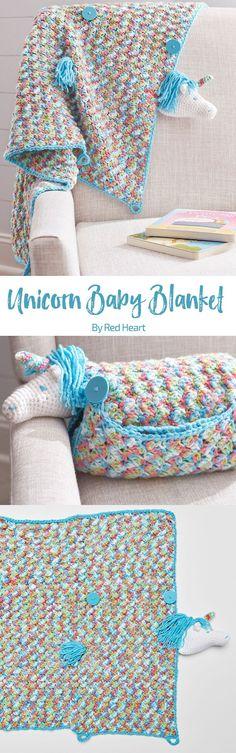 Unicorn Baby Blanket free crochet pattern in Baby Hugs Medium.