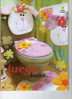 BAÑO SET  PATRONES EN  LENCERIA DE COCINA Decor Crafts, Diy And Crafts, Bathroom Crafts, Use E Abuse, Ideas Hogar, Applique Quilts, Diy Storage, Diy Projects To Try, Easter Crafts