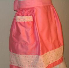 Vintage 60s Pink Half Apron