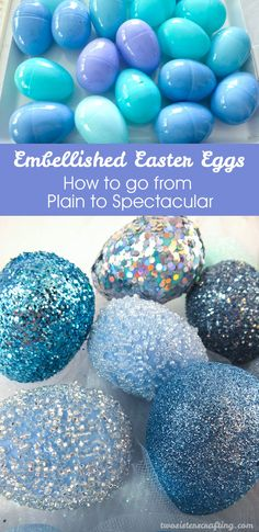 Take plastic Easter Eggs from Plain to Spectacular with our Embellished Easter Eggs tutorial.  And for more great Easter Craft Ideas, follow us at https://www.pinterest.com/2SistersCraft/ Plastic Easter Eggs, Easter Egg Crafts, Easter Bunny, Easter Arts And Crafts, Easter Egg Cake, Easter Cookies, Easter Table, Easter Holidays, Easter For Babies