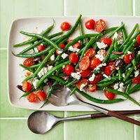 Greek Green Beans - I substituted Thyme for Rosemary and added S & P and fresh lemon juice. SO GOOD and good for you!