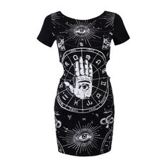 New Jawbreaker Occult Gothic Zodiac Hamsa Hand Tunic Dress ($35) ❤ liked on Polyvore featuring dresses, gothic lolita dress, gothic dress, gothic clothing dresses and goth dress