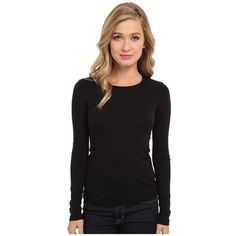 Splendid 1x1 Rib L/S Crew Neck Tee (Black) Women's Long Sleeve... (82 BAM) ❤ liked on Polyvore featuring tops, t-shirts, slim fit t shirts, long sleeve crew neck t shirt, sweater pullover, long sleeve tees and crew t shirts