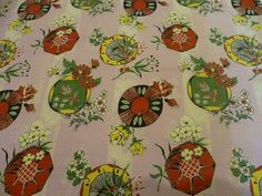 Vintage 1950s Japanese Novelty Plates & Floral Rose Print Textured Cotton Fabric | eBay