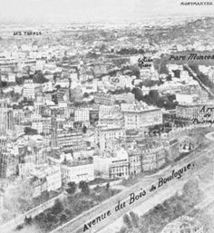 The earliest known aerial photograph, taken from a balloon over Paris in 1858.