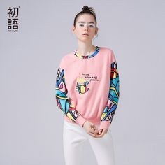 e544e24df7 Toyouth Women s Tracksuit 2017 Spring New Long Sleeve O Neck Character  Printed Pullovers Female Casual Hoodies Sweatshirt-in Hoodies   Sweatshirts  from ...