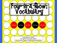 Target+the+vocabulary+concepts,+CATEGORIES,+ATTRIBUTES,+FUNCTIONS,+SYNONYMS,+and+ANTONYMS+with+a+fun+and+familiar+game!++Game+boards+are+included+for+each+of+the+above+targets.++Take+turns+naming+words+or+items+in+order+to+cover+a+game+space.++The+first+person+with+four+in+a+row+is+the+winner!