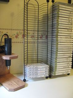 organizing clear mount stamps in a small space.  Also a simple homemade heat tool organizer