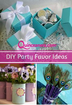 DIY | Party Favors | Do it yourself | candy box | peacock theme | pens | flowers | kisses | Quinceanera | Budget | Save money | Affordable