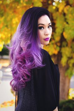 Bright purple ombre #hair #dyed #coloured  Beauty: Fantasy Unicorn Purple Violet Red Cherry Pink Bright Hair Colour Color Coloured Colored Fire Style curls haircut lilac lavender short long mermaid blue green teal orange hippy boho ombré woman lady pretty selfie style fade makeup grey white silver  Pulp Riot