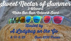 Enter for your chance to be one of THREE to #win in the Sweet Nectar of Summer #Giveaway event! Prize pack includes two pairs of Nectar Sunglasses, Flag, Wristband, Vinyl Decal, and Drink Koozie. Total ARV: $255! Ends June 25 (11:59pm).