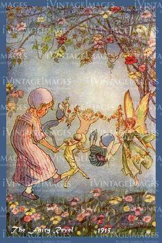 The Fairy Revel by Olde America Antiques. The Fairy Revel. Hilda Miller Fairies from Olde America Antiques Online. Vintage Fairies, Vintage Art, Kobold, Elves And Fairies, Beautiful Fairies, Flower Fairies, Fairy Art, Magical Creatures, Faeries
