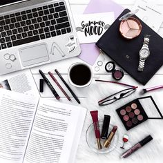 homework, work, reading the news, checking class notes, and putting on makeup is what really happens every morning || www.sincerelynot.com