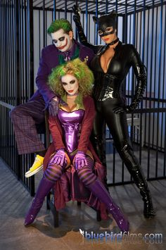 A picture from the Katwoman XXX movie starring the Joker, Jokette and Catwoman in latex. Also features Harley Quinn #latex