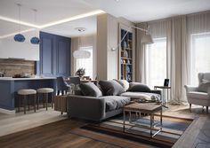 Pasztell kék földszínek szürke és fa - kényelmes modern lakberendezés egy négyszobás lakásban