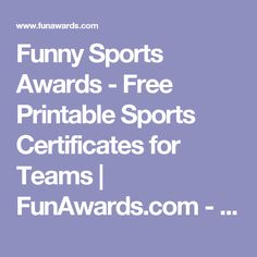 Funny Sports Awards - Free Printable Sports Certificates for Teams | FunAwards.com - funny-sports-awards-sample.pdf
