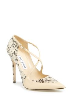 Jimmy Choo 'Maveric' Snake Embossed Leather Pump. Snake-embossed leather adds an exotic edge to a high-rise pump crisscrossed by delicate elastic straps for a perfect fit.