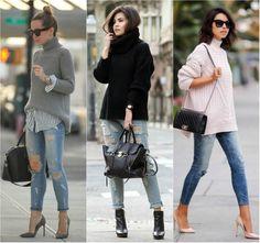 As malhas em tricô ou lã são peças excelentes para nos manter aquecida e ficam ótimas quando combinadas com outras peças, como jeans destroyed.