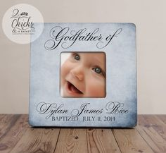 Godfather Gift, Personalized Baptism Picture Frame, Godparent Gift, Baptism Gift Idea, Godparent Picture Frame