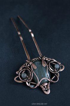 Wire wrap hairpin copper comb hair barrette by LenaSinelnikArt