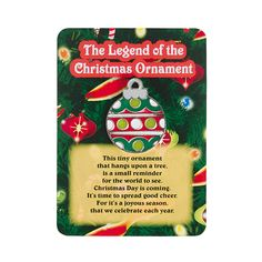 """The Legend Of The Christmas Ornament"" Pins on Cards are a unique holiday gift for friends, family, co-workers and neighbors. Christmas Poems, Meaning Of Christmas, Christmas Bells, Xmas Ornaments, A Christmas Story, Christmas Traditions, All Things Christmas, Christmas Holidays, Christmas Decorations"